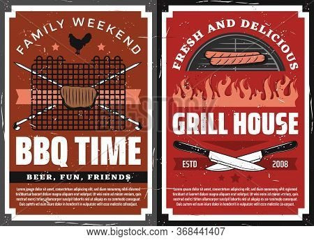 Bbq Party And Grill House Restaurant Vector Design With Barbecue Grilled Meat Food. Beef Steak And S