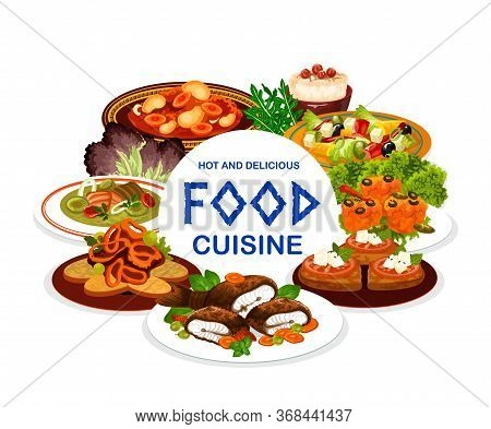 Greek Cuisine Food Vector Design. Vegetable Salad With Olives And Feta, Meat Stew Stifado And Fish S