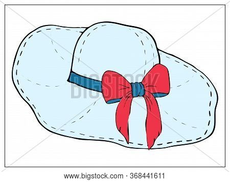 Vector Illustration With A Beach Hat With Wide Brim And Bow. For Web, Logo, Icon, App, Ui. Cartoon S