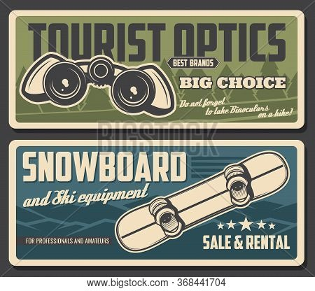 Snowboard And Binoculars Vector Design Of Tourism Equipment And Snowboarding Sport Gear. Winter Snow