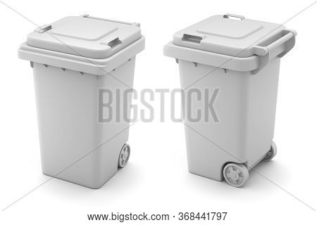 Clay Render Of Plastic Trash Can On White Background - 3d Illustration