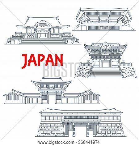Japanese Travel Landmarks With Vector Thin Line Buildings Of Religion And Sport. Shinto Shrines Of M