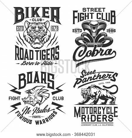 Tiger, Panther, Cobra And Boar T-shirt Print Mockup With Vector Wild Animals And Snake. Biker Or Mot