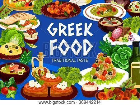 Greek Cuisine Seafood, Vegetable And Meat Meal, Vector Food. Salad Of Feta, Olives And Tomatoes, Shr