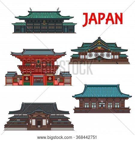 Japanese Travel Landmarks With Vector Buildings Of Tokyo. Thin Line Temple Pagodas Of Buddhist Gokok