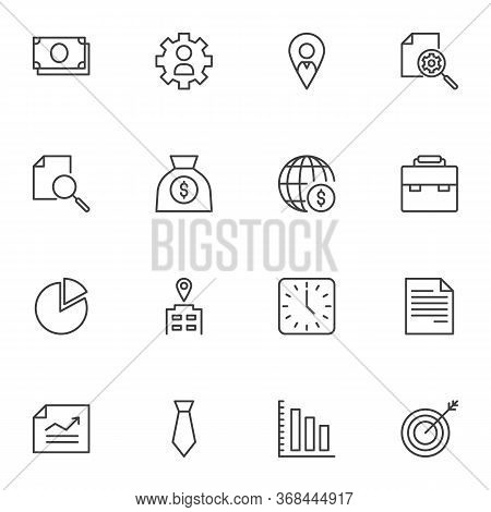 Business And Finance Line Icons Set, Outline Vector Symbol Collection, Linear Style Pictogram Pack.