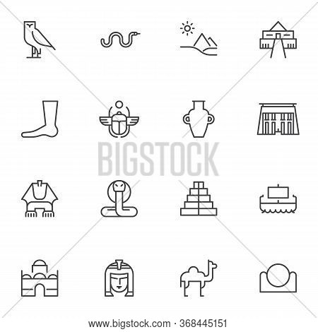 Ancient Egypt Line Icons Set, Outline Vector Symbol Collection, Linear Style Pictogram Pack. Signs,