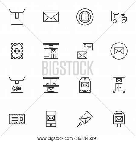 Postal Service Line Icons Set, Post Office Outline Vector Symbol Collection, Linear Style Pictogram
