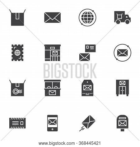 Postal Service Vector Icons Set, Post Office Modern Solid Symbol Collection, Filled Style Pictogram