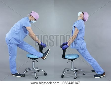 Stretching exercise for dentist in standing position with chair.Self help.