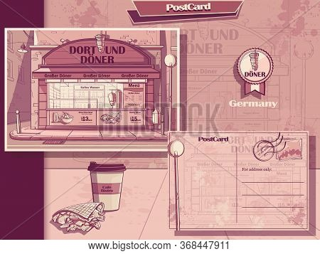 Post Card And Flyer Of Cafe In Dortmund, Germany. Image Of Doner Kebab Onion, Water, Fast Food Cafe.