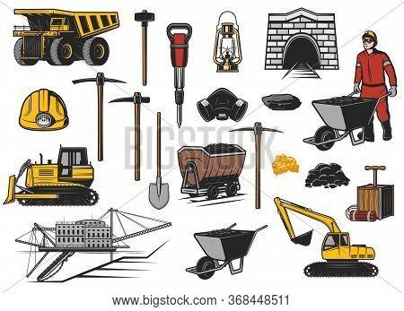 Ore And Coal Mining Industry Equipment Vector Icons. Coal Mine Dump Truck, Miner Helmet, Pickaxes, S