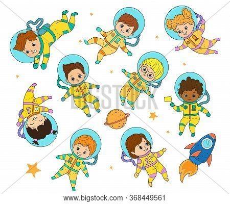 Set Of Vector Astronaut Kids. Girls And Boys In Astronaut Costume Flies