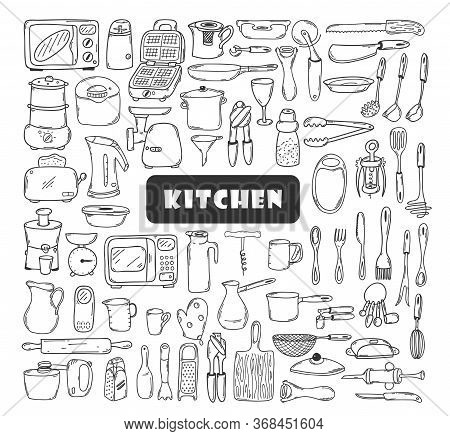 A Large Set Of Kitchen Tools, Dishes, Utensils In Doodle Style. Collection Of Elements For Menu, Rec