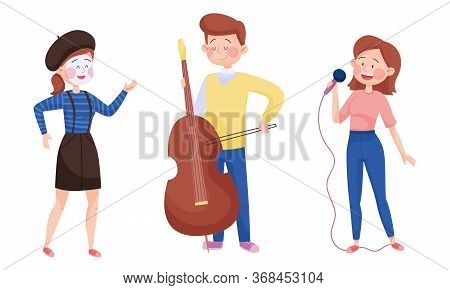 Young Street Performers With Boy Playing Cello And Girl Miming Vector Set