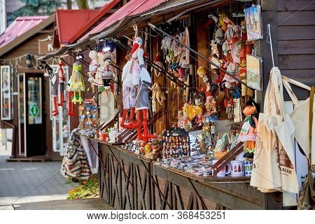 Belarus, Minsk, August 2019. A Small Street Shop Selling Souvenirs. A Large Assortment Of Souvenirs.