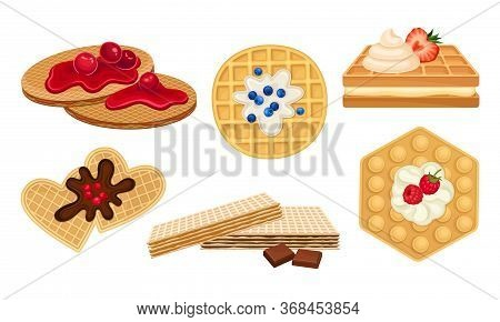 Waffles With Textured Surface And Sweet Whipped Cream And Jam Topping With Berries Vector Set