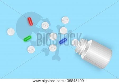 Suicide. Overdose Of Drugs. Jar With Pills Vector Illustration Scattered On A Blue Background