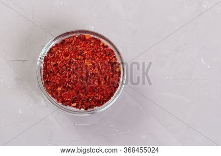Moroccan Harissa In A Glass Plates On A Gray Background
