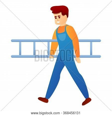 Repairman With Ladder Icon. Cartoon Of Repairman With Ladder Vector Icon For Web Design Isolated On