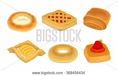 Flour Confectionery Or Pastry With Sweet Wheat Bun And Baked Roll With Jam And Curd Vector Set