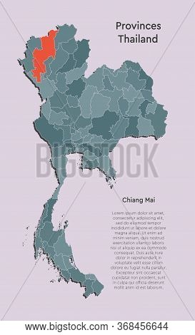 Asia Country Thailand Map Or Province Chiang Mai