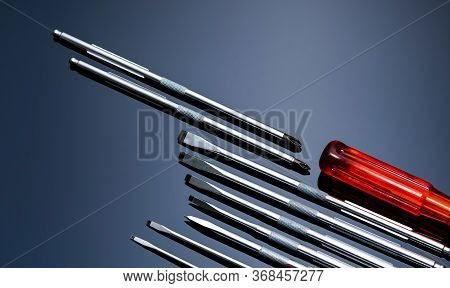 Screwdriver And Center Punch. Mechanic Hand Tools. Screwdriver Sets With Interchangeable Blades. Mob