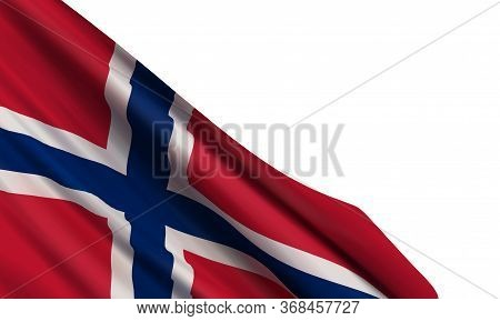 The Realistic Flag Of Norway Isolated On A White Background. Vector Element For Norwegian Constituti