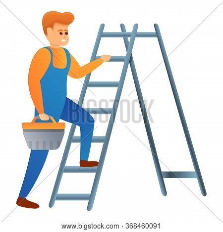 Repairman On Ladder Icon. Cartoon Of Repairman On Ladder Vector Icon For Web Design Isolated On Whit
