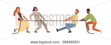 Tug Of War Men Vs Women Vector Flat Illustration. Colorful Diverse People Pulling Opposite Ends Of R