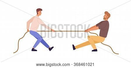 Tug Of War Man Versus Guy Vector Flat Illustration. Battle Or Competition Between Male To Leadership