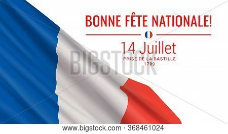 Vector Illustration With The Realistic Flag Of France And Text Isolated On White Background. Transla