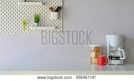 Versatile Table In The Morning Vibe Including Coffee Maker, Coffee Cup, Biscuits Is On The Table  Po
