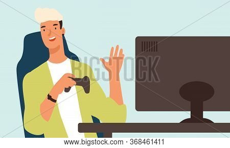 Happy Teenage Guy Sitting In Front Of Computer Monitor Hold Joystick Vector Flat Illustration. Smili