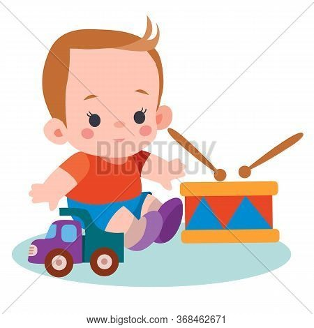 Boy Sitting Among His Toys A Drum, Typewriter, Flat, Isolated Object On A White Background, Vector I