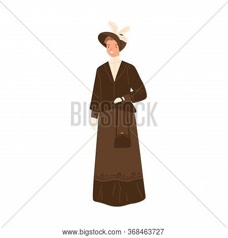 Happy Woman Standing In Daily Apparel Of 1900s Style Vector Flat Illustration. Trendy Smiling Female