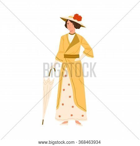 Adorable Fashion Woman Standing In Summer Dress And Hat Vector Flat Illustration. Smiling Lady Holdi