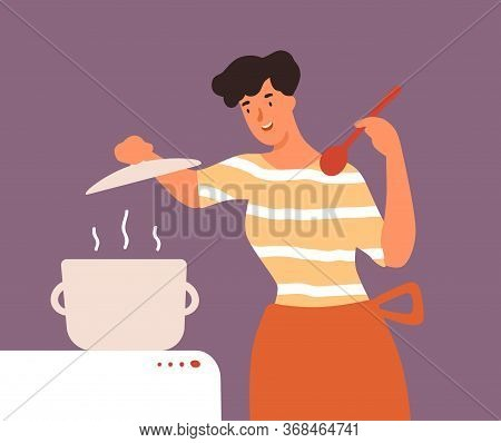 Happy Housewife Open Lid Of Pan During Cooking Food Vector Flat Illustration. Smiling Young Woman In