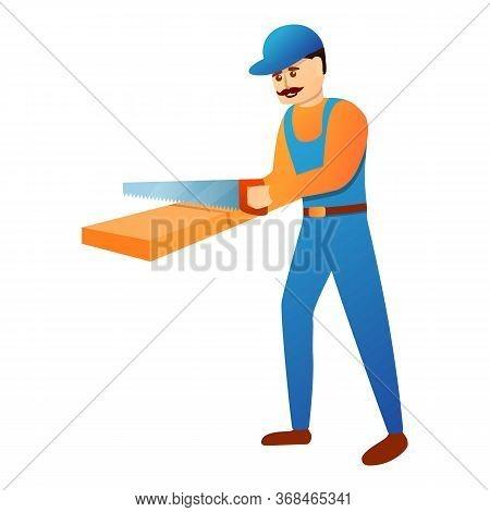 Repairman Working With Hand Saw Icon. Cartoon Of Repairman Working With Hand Saw Vector Icon For Web