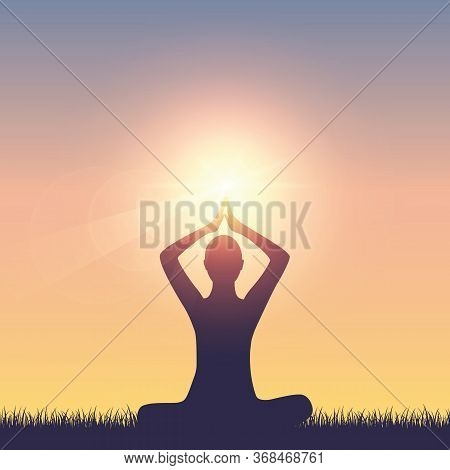 Meditating Person On Summer Meadow At Sunshine Vector Illustration Eps10
