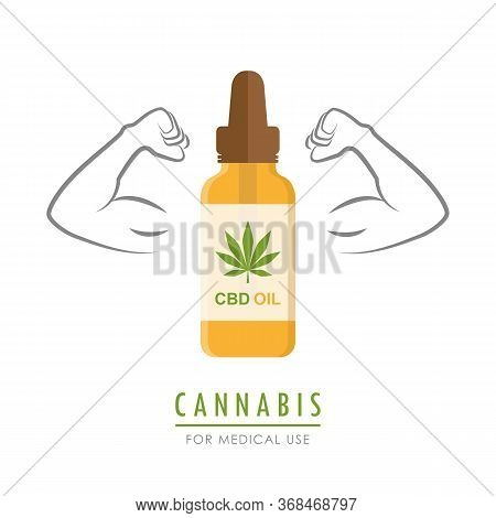 Strong Cannabis Oil With Muscular Arms Vector Illustration Eps10