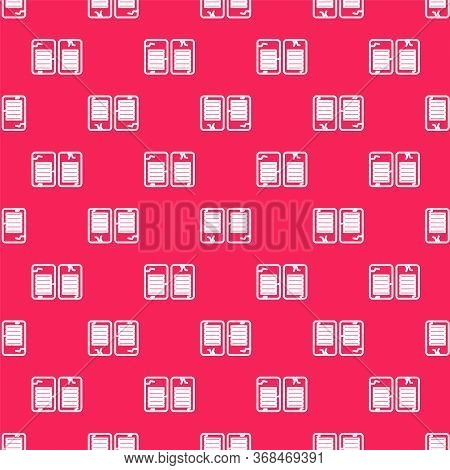 White Line The Commandments Icon Isolated Seamless Pattern On Red Background. Gods Law Concept. Vect
