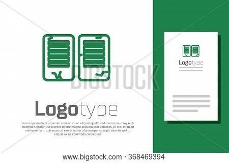 Green Line The Commandments Icon Isolated On White Background. Gods Law Concept. Logo Design Templat