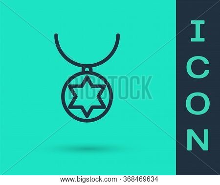 Black Line Star Of David Necklace On Chain Icon Isolated On Green Background. Jewish Religion. Symbo