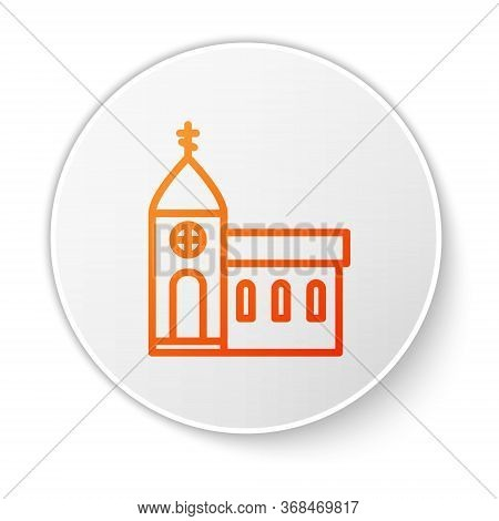 Orange Line Church Building Icon Isolated On White Background. Christian Church. Religion Of Church.