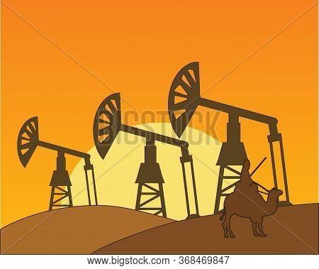Mining To Oils In Hot Desert Landscape