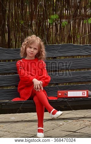 Toddler Girl With A Big Red Binder. Little Girl With A Business Red Folder. Little Girl 7 Years Old