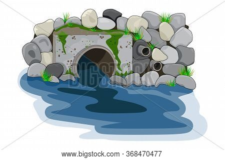 Wastewater. Water Pollution From Industrial Pipe. Wastewater Discharge From Plant. Plant Wastewater