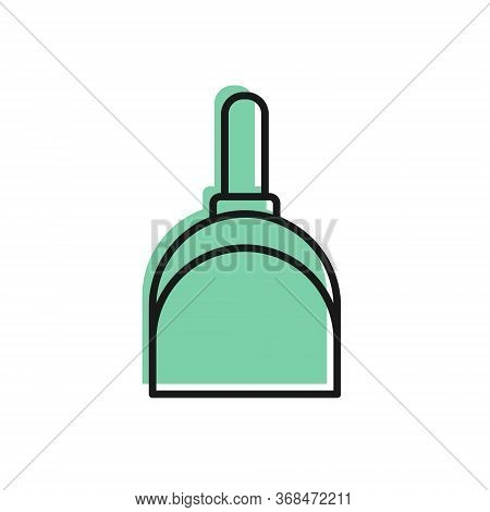 Black Line Dustpan Icon Isolated On White Background. Cleaning Scoop Services. Vector Illustration.