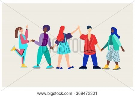 Young People Of Different Nationalities Hold Hands.lesbian, Straight, Gay, Bisexual, Polyamory.flat